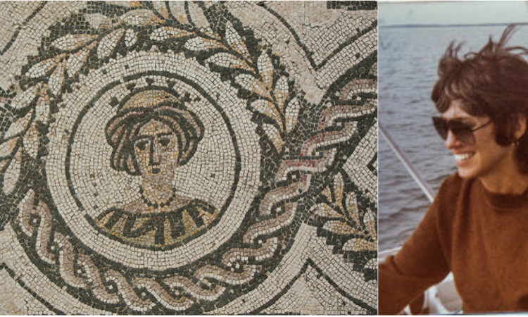 Mosaic of Roman woman in Ostia; photograph of Jessica Leeds (via the New York Times)